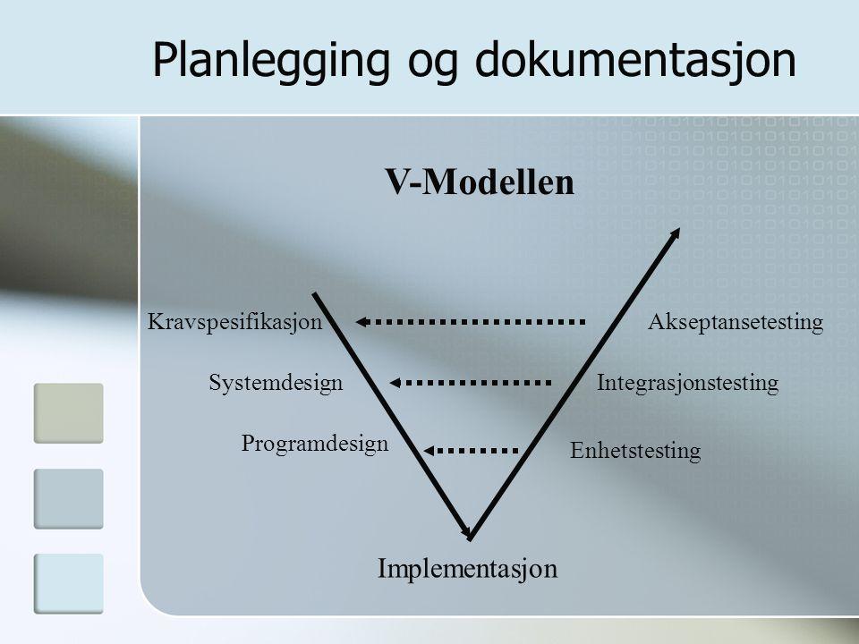Planlegging og dokumentasjon Kravspesifikasjon Systemdesign Programdesign Implementasjon Enhetstesting Integrasjonstesting Akseptansetesting V-Modelle