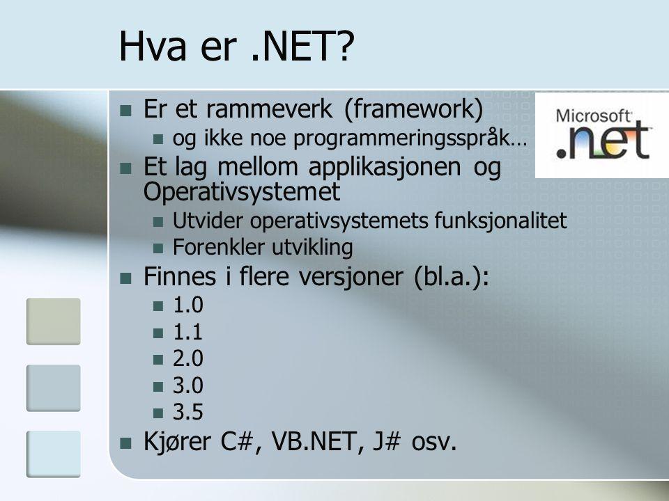 Hva er.NET? Er et rammeverk (framework) og ikke noe programmeringsspråk… Et lag mellom applikasjonen og Operativsystemet Utvider operativsystemets fun