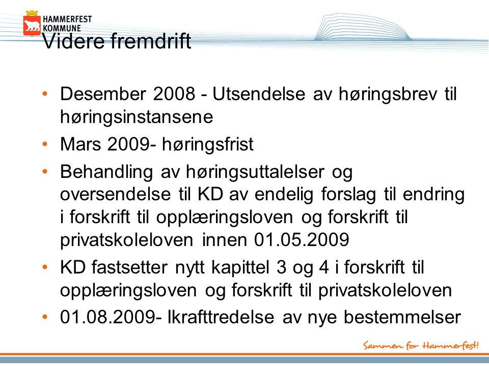 Videre fremdrift Desember 2008 - Utsendelse av høringsbrev til høringsinstansene Mars 2009- høringsfrist Behandling av høringsuttalelser og oversendel