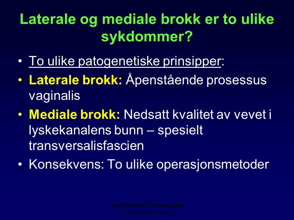 Inge Glambek, Haraldsplass Diakonale Sykehus Laterale og mediale brokk er to ulike sykdommer? To ulike patogenetiske prinsipper: Laterale brokk: Åpens