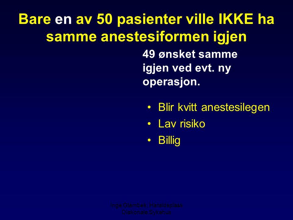 Inge Glambek, Haraldsplass Diakonale Sykehus Bare en av 50 pasienter ville IKKE ha samme anestesiformen igjen Blir kvitt anestesilegen Lav risiko Bill