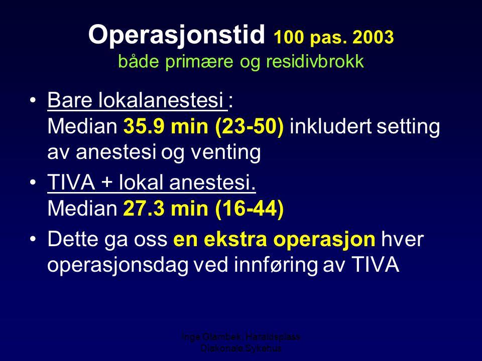 Inge Glambek, Haraldsplass Diakonale Sykehus Operasjonstid 100 pas. 2003 både primære og residivbrokk Bare lokalanestesi : Median 35.9 min (23-50) ink