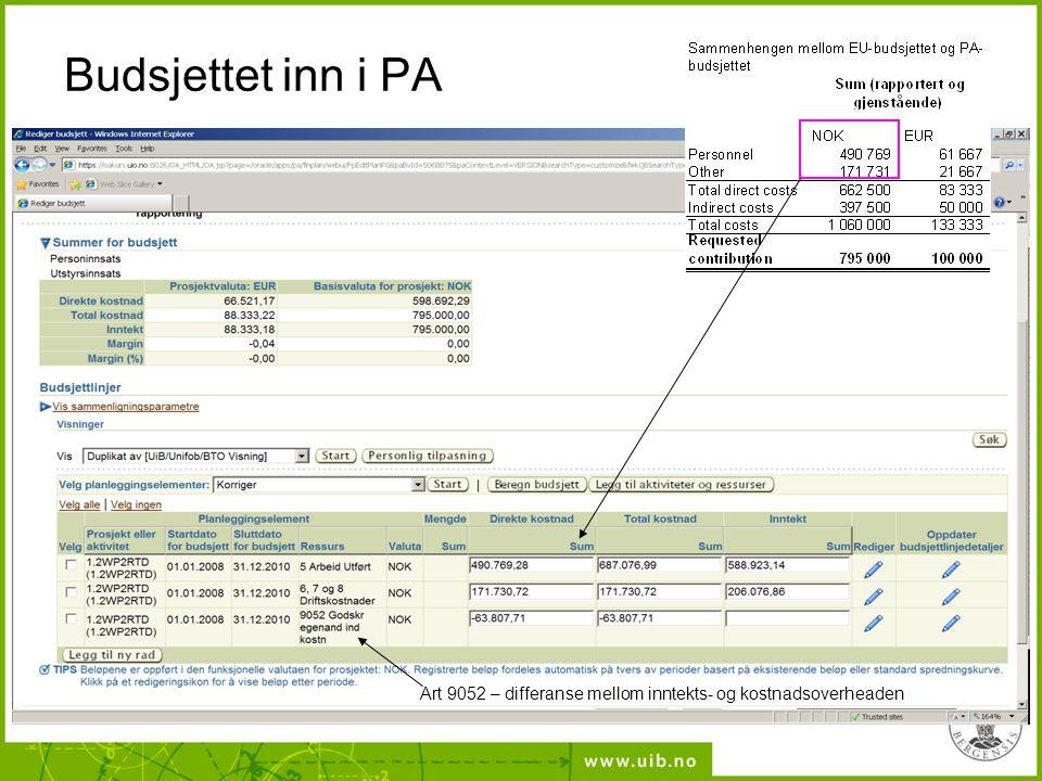 Budsjettet inn i PA Art 9052 – differanse mellom inntekts- og kostnadsoverheaden