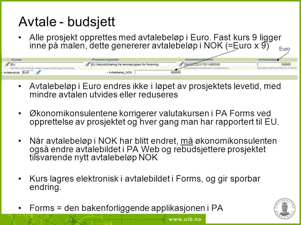 Avtale - budsjett Alle prosjekt opprettes med avtalebeløp i Euro.