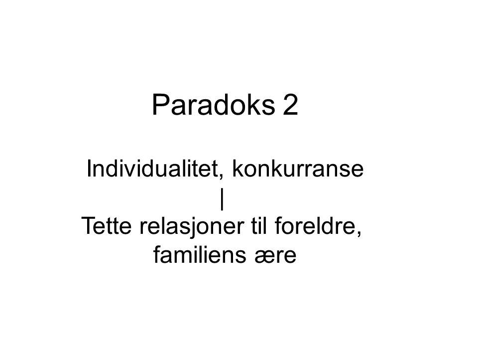 Paradoks 2 Individualitet, konkurranse | Tette relasjoner til foreldre, familiens ære