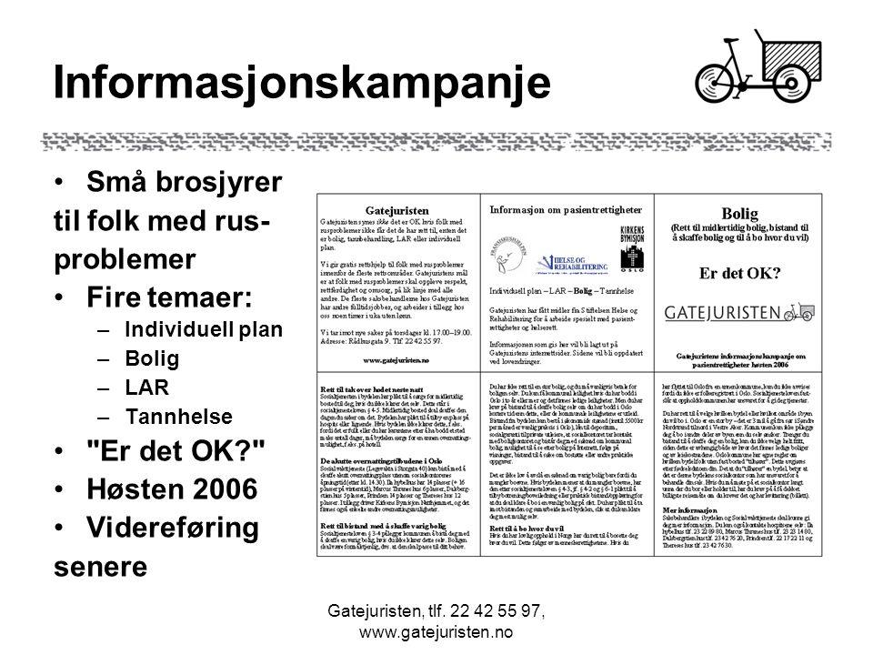 Gatejuristen, tlf. 22 42 55 97, www.gatejuristen.no Informasjonskampanje Små brosjyrer til folk med rus- problemer Fire temaer: –Individuell plan –Bol