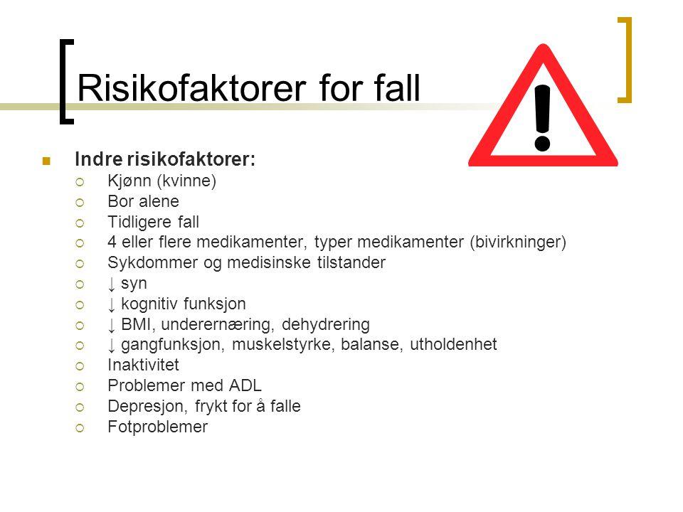Risikofaktorer for fall Indre risikofaktorer:  Kjønn (kvinne)  Bor alene  Tidligere fall  4 eller flere medikamenter, typer medikamenter (bivirkni