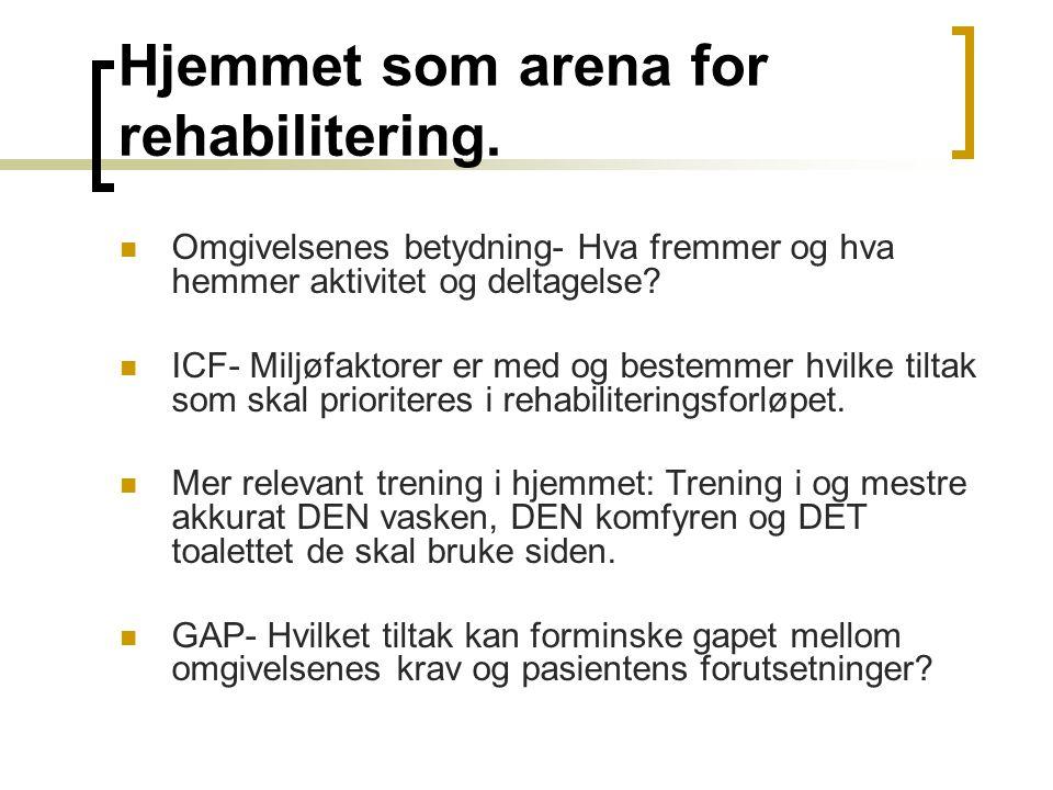 Hjemmet som arena for rehabilitering. Omgivelsenes betydning- Hva fremmer og hva hemmer aktivitet og deltagelse? ICF- Miljøfaktorer er med og bestemme