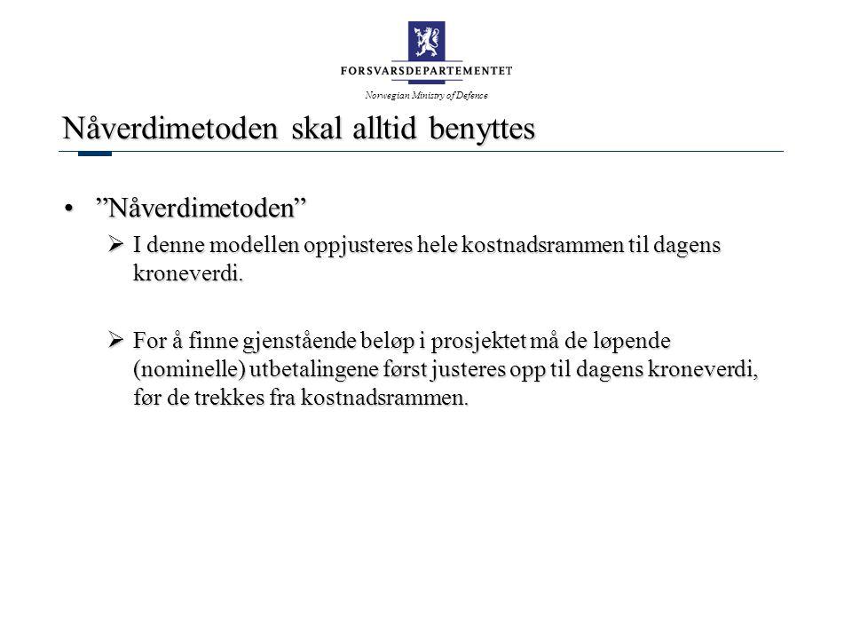 Norwegian Ministry of Defence Nåverdimetoden skal alltid benyttes Nåverdimetoden Nåverdimetoden  I denne modellen oppjusteres hele kostnadsrammen til dagens kroneverdi.