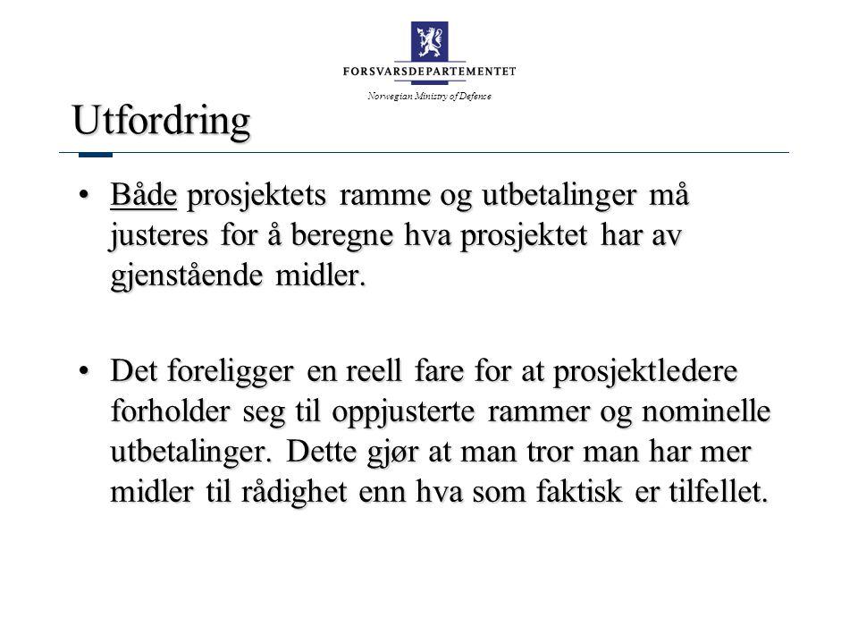 Norwegian Ministry of Defence Utfordring Både prosjektets ramme og utbetalinger må justeres for å beregne hva prosjektet har av gjenstående midler.Både prosjektets ramme og utbetalinger må justeres for å beregne hva prosjektet har av gjenstående midler.