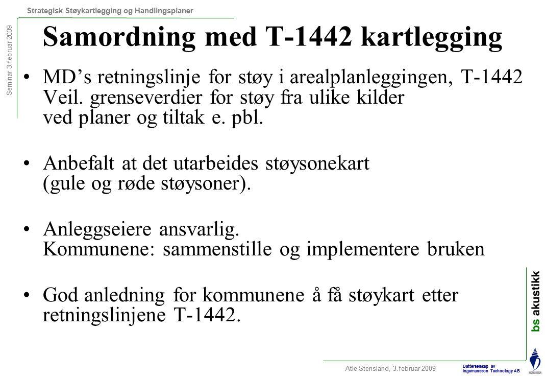 Seminar 3.februar 2009 Strategisk Støykartlegging og Handlingsplaner Atle Stensland, 3.februar 2009 Datterselskap av Ingemansson Technology AB Samordning med T-1442 kartlegging MD's retningslinje for støy i arealplanleggingen, T-1442 Veil.