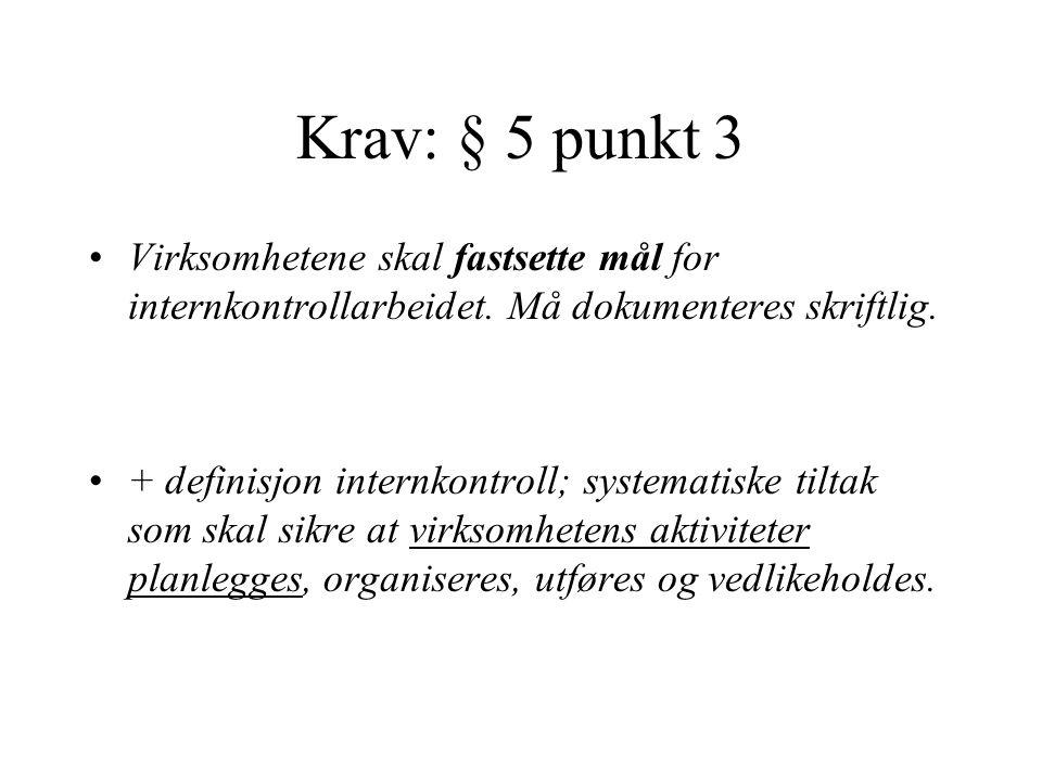 Krav: § 5 punkt 3 Virksomhetene skal fastsette mål for internkontrollarbeidet. Må dokumenteres skriftlig. + definisjon internkontroll; systematiske ti
