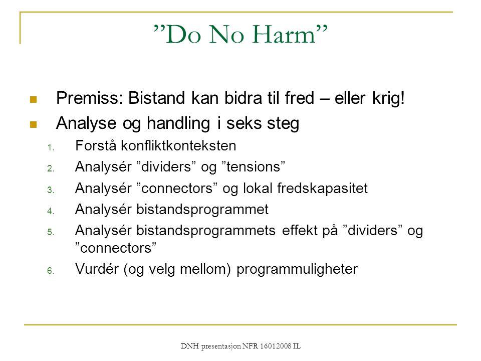 """DNH presentasjon NFR 16012008 IL """"Do No Harm"""" Premiss: Bistand kan bidra til fred – eller krig! Analyse og handling i seks steg 1. Forstå konfliktkont"""