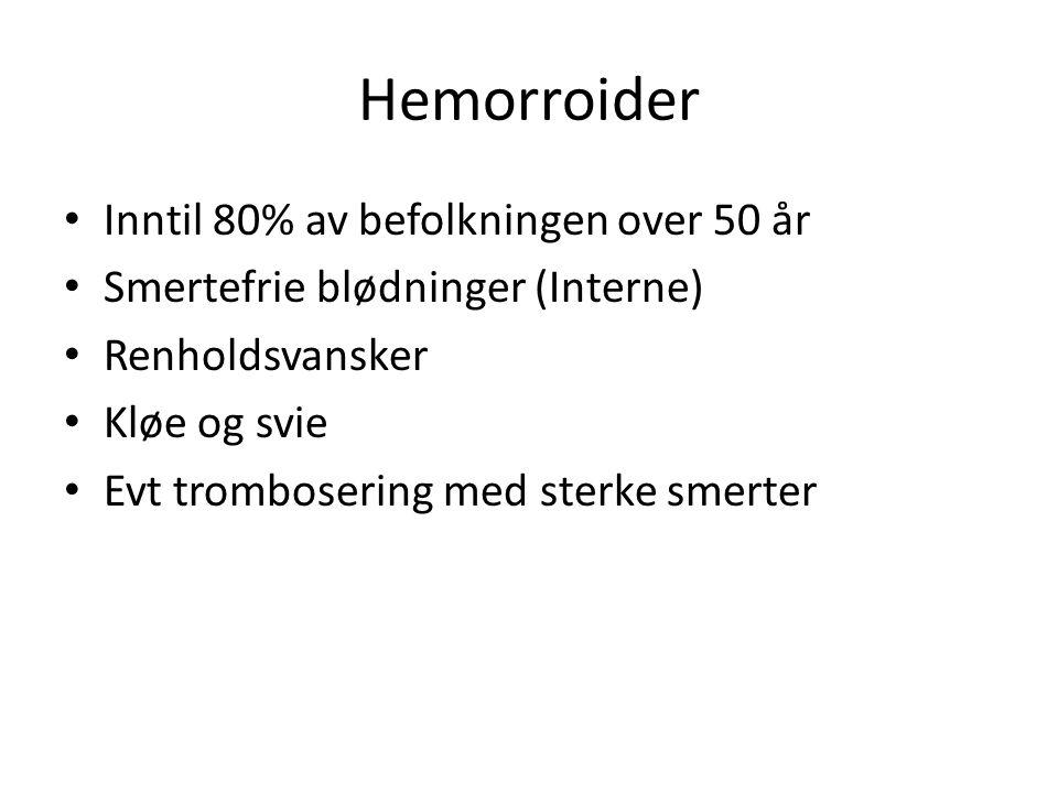 Inntil 80% av befolkningen over 50 år Smertefrie blødninger (Interne) Renholdsvansker Kløe og svie Evt trombosering med sterke smerter