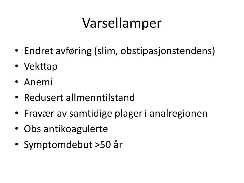 Varsellamper, forts Familiær colorectalcancer Tidligere dysplastiske polypper el. CRC
