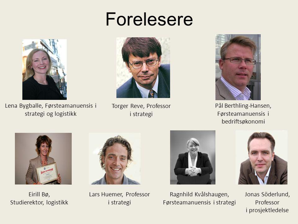 Forelesere Torger Reve, Professor i strategi Jonas Söderlund, Professor i prosjektledelse Ragnhild Kvålshaugen, Førsteamanuensis i strategi Lena Bygba