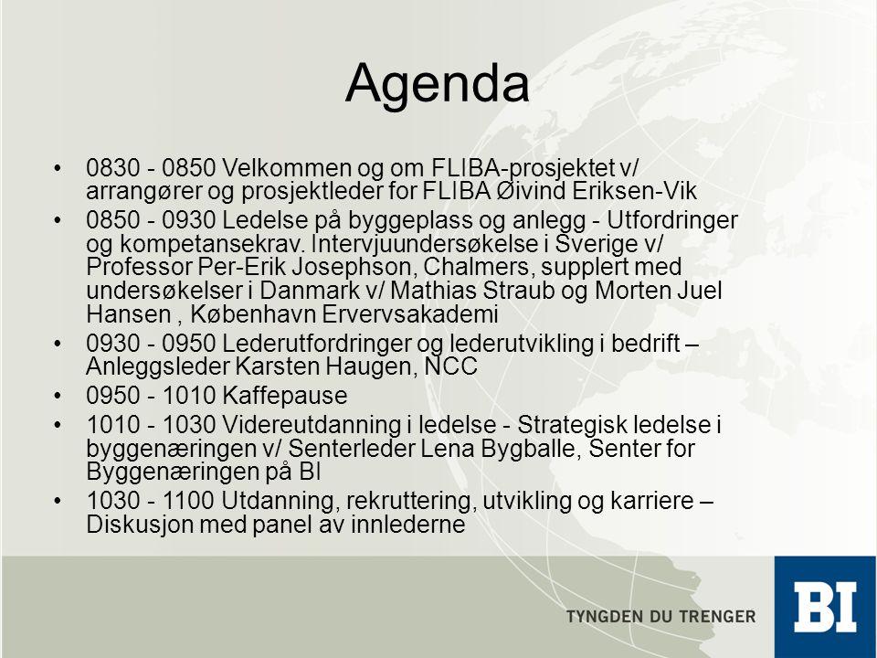 Agenda 0830 - 0850 Velkommen og om FLIBA-prosjektet v/ arrangører og prosjektleder for FLIBA Øivind Eriksen-Vik 0850 - 0930 Ledelse på byggeplass og a