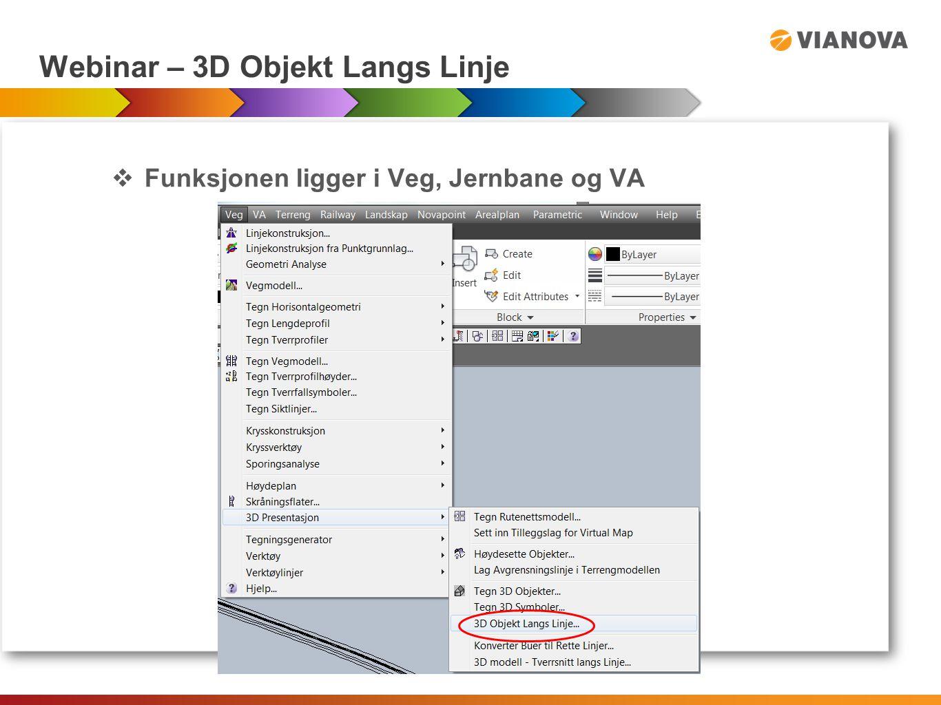 Webinar – 3D Objekt Langs Linje  HJELP fil