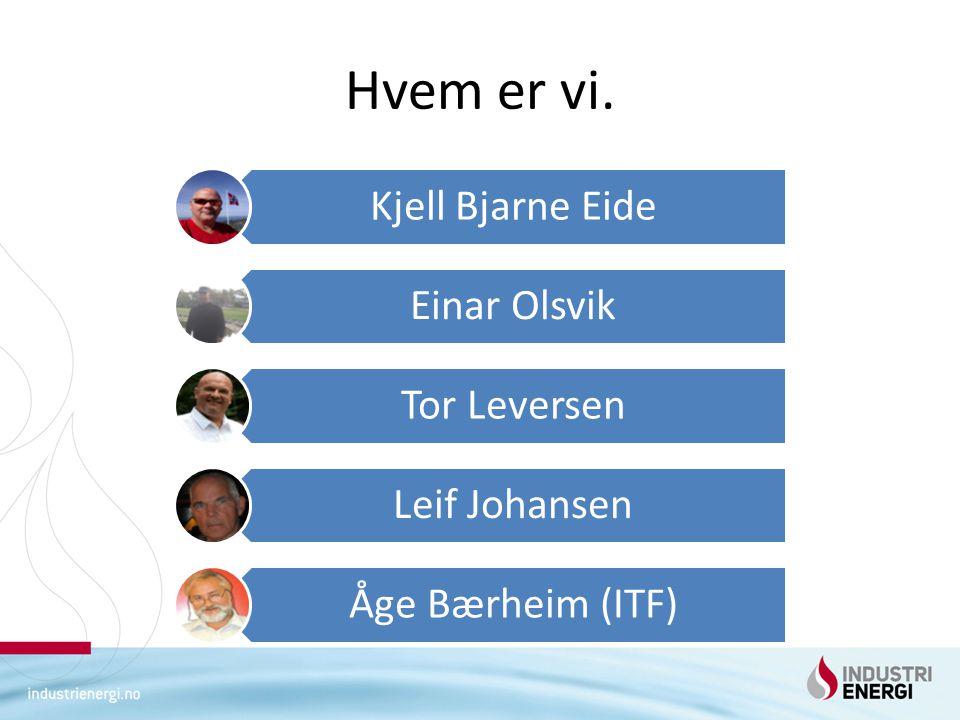 Hvem er vi. Kjell Bjarne Eide Einar Olsvik Tor Leversen Leif Johansen Åge Bærheim (ITF)