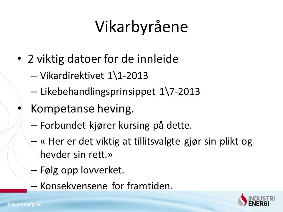 Vikarbyråene 2 viktig datoer for de innleide – Vikardirektivet 1\1-2013 – Likebehandlingsprinsippet 1\7-2013 Kompetanse heving. – Forbundet kjører kur