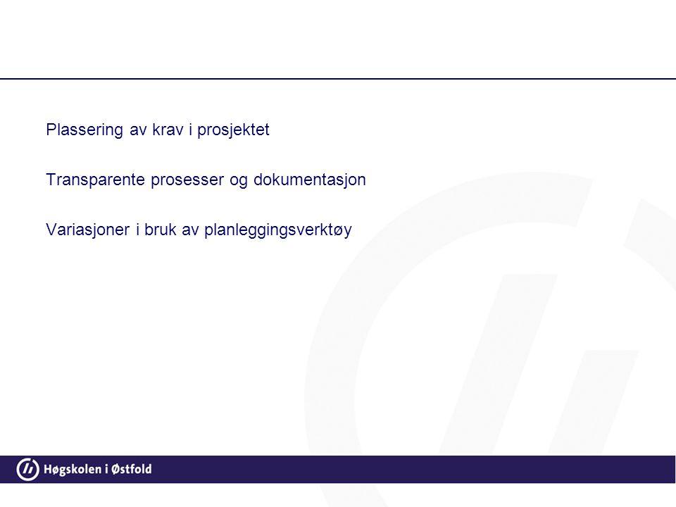 Plassering av krav i prosjektet Transparente prosesser og dokumentasjon Variasjoner i bruk av planleggingsverktøy