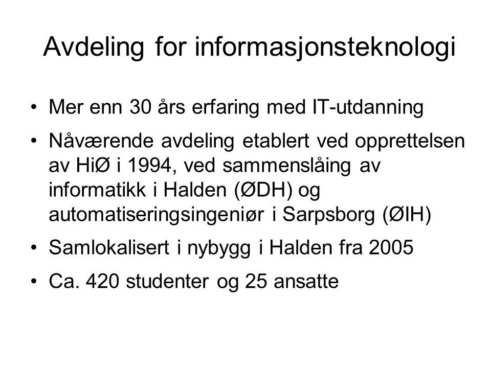 Avdeling for informasjonsteknologi Mer enn 30 års erfaring med IT-utdanning Nåværende avdeling etablert ved opprettelsen av HiØ i 1994, ved sammenslåi