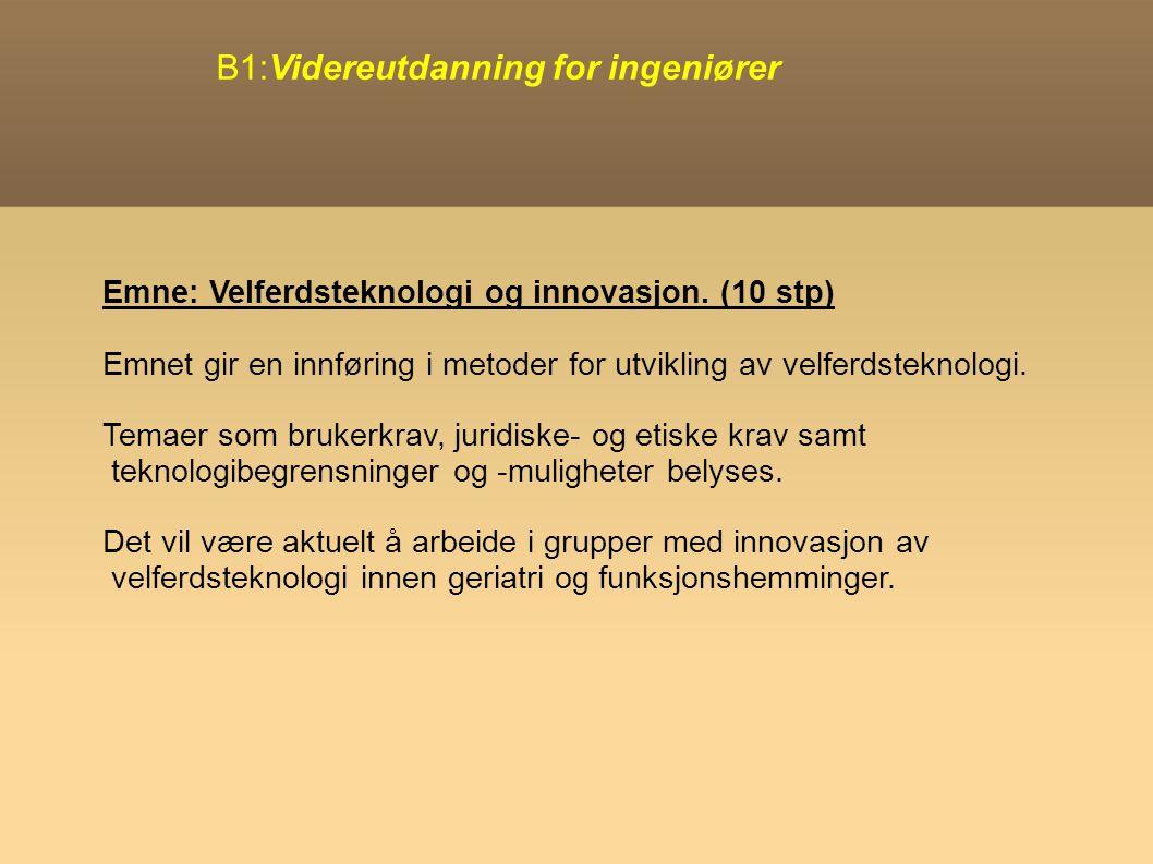 B1:Videreutdanning for ingeniører Emne: Velferdsteknologi og innovasjon.