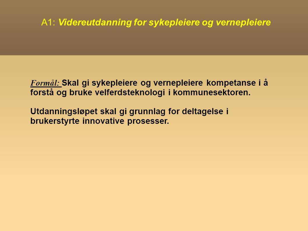 A1: Videreutdanning for sykepleiere og vernepleiere Formål: Skal gi sykepleiere og vernepleiere kompetanse i å forstå og bruke velferdsteknologi i kommunesektoren.