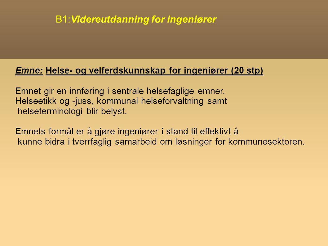 B1:Videreutdanning for ingeniører Emne: Helse- og velferdskunnskap for ingeniører (20 stp) Emnet gir en innføring i sentrale helsefaglige emner.