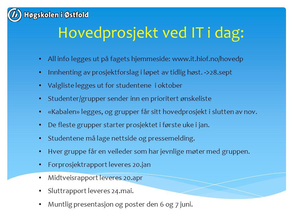 Hovedprosjekt ved IT i dag: All info legges ut på fagets hjemmeside: www.it.hiof.no/hovedp Innhenting av prosjektforslag i løpet av tidlig høst. ->28.