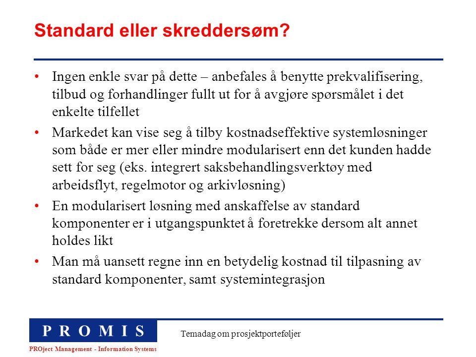 P R O M I S PROject Management - Information Systems Temadag om prosjektporteføljer Standard eller skreddersøm? Ingen enkle svar på dette – anbefales