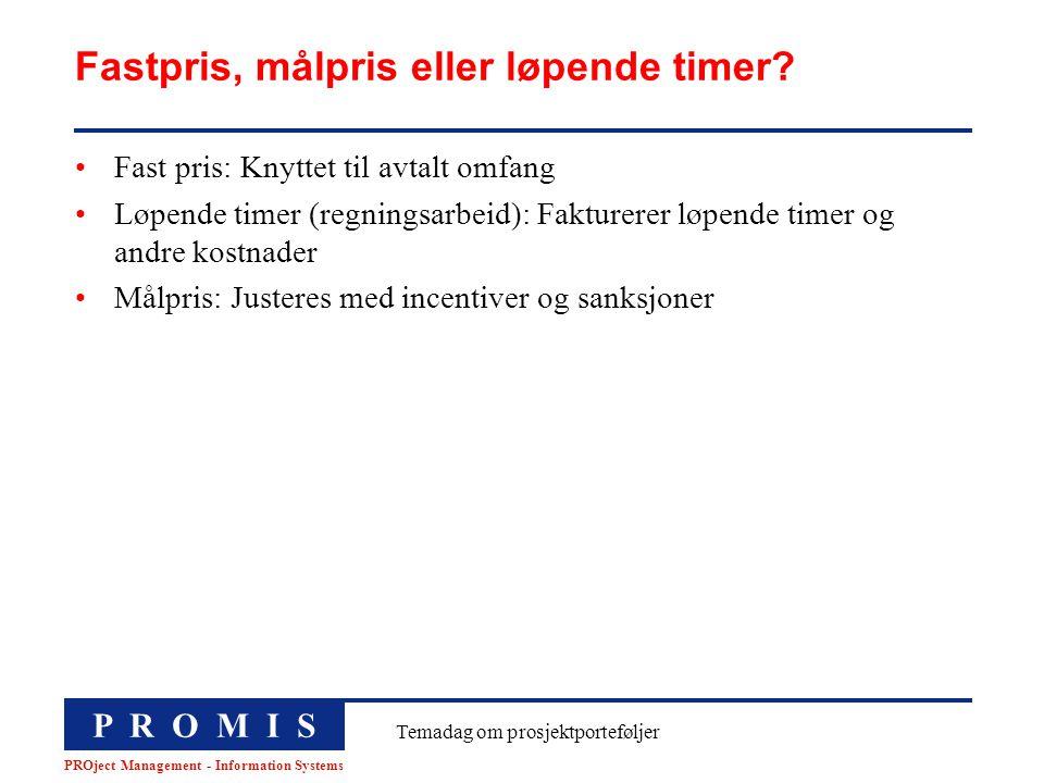 P R O M I S PROject Management - Information Systems Temadag om prosjektporteføljer Fastpris, målpris eller løpende timer? Fast pris: Knyttet til avta