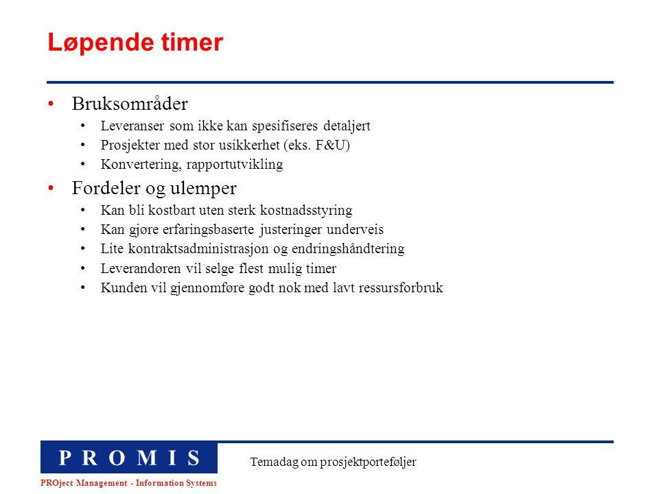 P R O M I S PROject Management - Information Systems Temadag om prosjektporteføljer Løpende timer Bruksområder Leveranser som ikke kan spesifiseres de