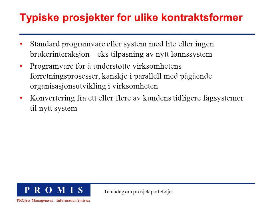 P R O M I S PROject Management - Information Systems Temadag om prosjektporteføljer Typiske prosjekter for ulike kontraktsformer Standard programvare