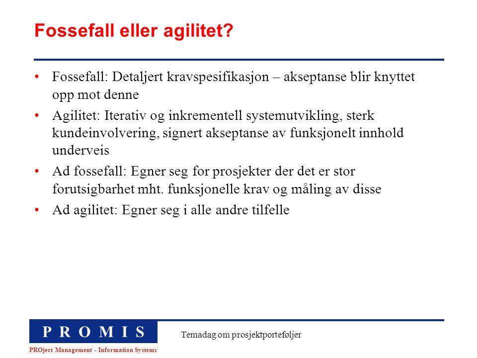 P R O M I S PROject Management - Information Systems Temadag om prosjektporteføljer Fossefall eller agilitet? Fossefall: Detaljert kravspesifikasjon –