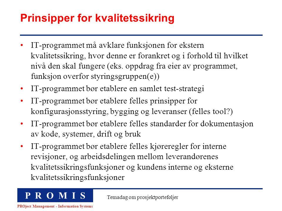 P R O M I S PROject Management - Information Systems Temadag om prosjektporteføljer Prinsipper for kvalitetssikring IT-programmet må avklare funksjone