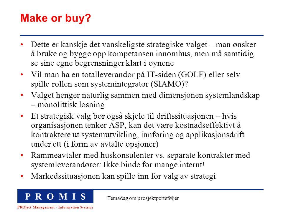 P R O M I S PROject Management - Information Systems Temadag om prosjektporteføljer Make or buy? Dette er kanskje det vanskeligste strategiske valget