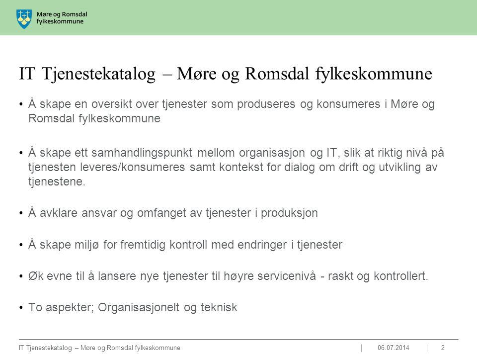06.07.2014IT Tjenestekatalog – Møre og Romsdal fylkeskommune3 Det er to lag på dokumentasjonen knyttet IT Tjenestekatalogen: ITB (Merkantile tjenestebeskrivelser) som har som formål avklare fordelene og ansvar for tjenestene.
