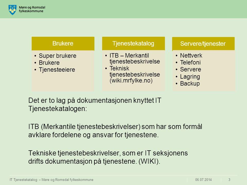 06.07.2014IT Tjenestekatalog – Møre og Romsdal fylkeskommune4 ITB – IT Tjenestebeskrivelse Inneholder følgende: Innledning, formål og funksjoner knyttet til IT tjenesten, samt beskrivelse av tjenestens funksjoner, ansvarsforhold og eierskap.