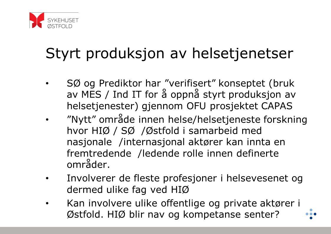 """Styrt produksjon av helsetjenetser SØ og Prediktor har """"verifisert"""" konseptet (bruk av MES / Ind IT for å oppnå styrt produksjon av helsetjenester) gj"""