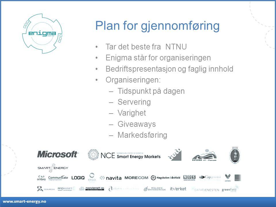 www.smart-energy.no Plan for gjennomføring Tar det beste fra NTNU Enigma står for organiseringen Bedriftspresentasjon og faglig innhold Organiseringen: –Tidspunkt på dagen –Servering –Varighet –Giveaways –Markedsføring