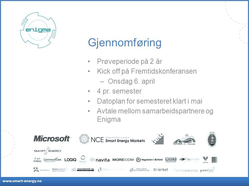 www.smart-energy.no Gjennomføring Prøveperiode på 2 år Kick off på Fremtidskonferansen –Onsdag 6.