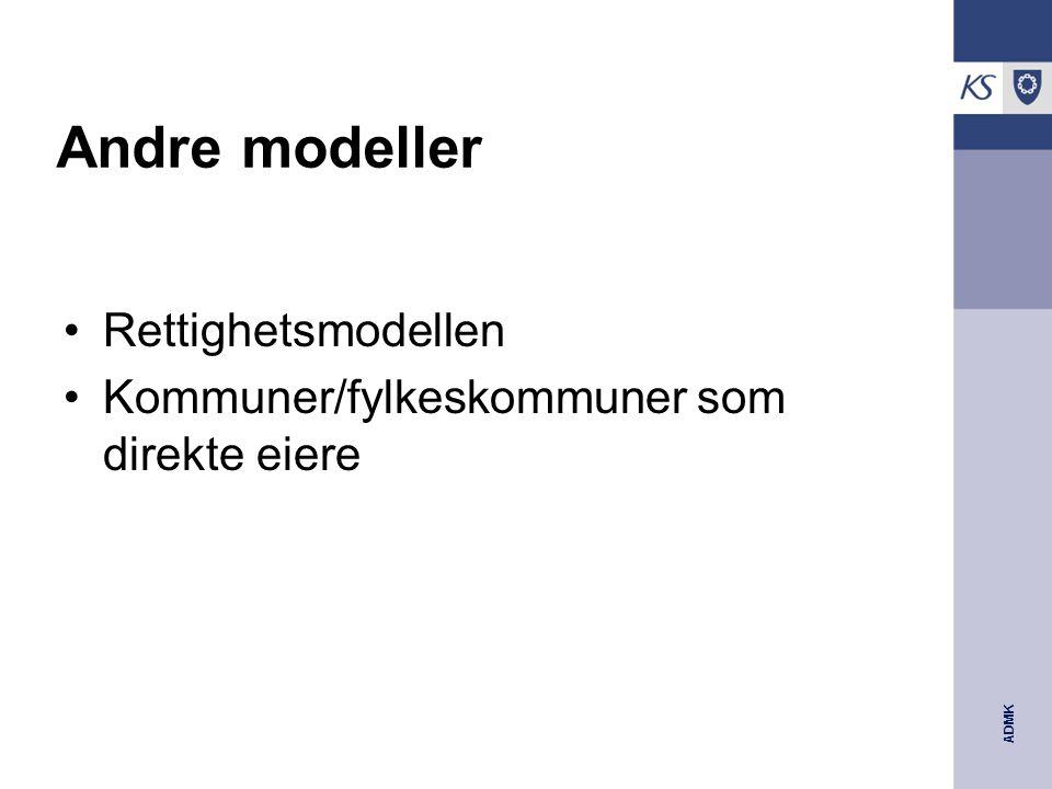 ADMK Andre modeller Rettighetsmodellen Kommuner/fylkeskommuner som direkte eiere