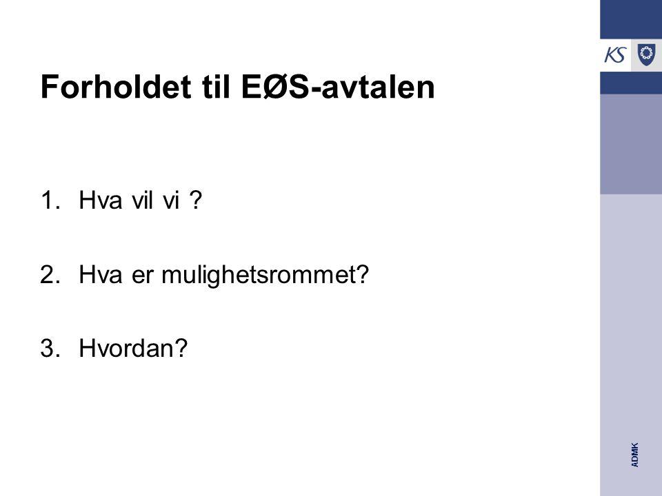 ADMK Forholdet til EØS-avtalen 1.Hva vil vi ? 2.Hva er mulighetsrommet? 3.Hvordan?