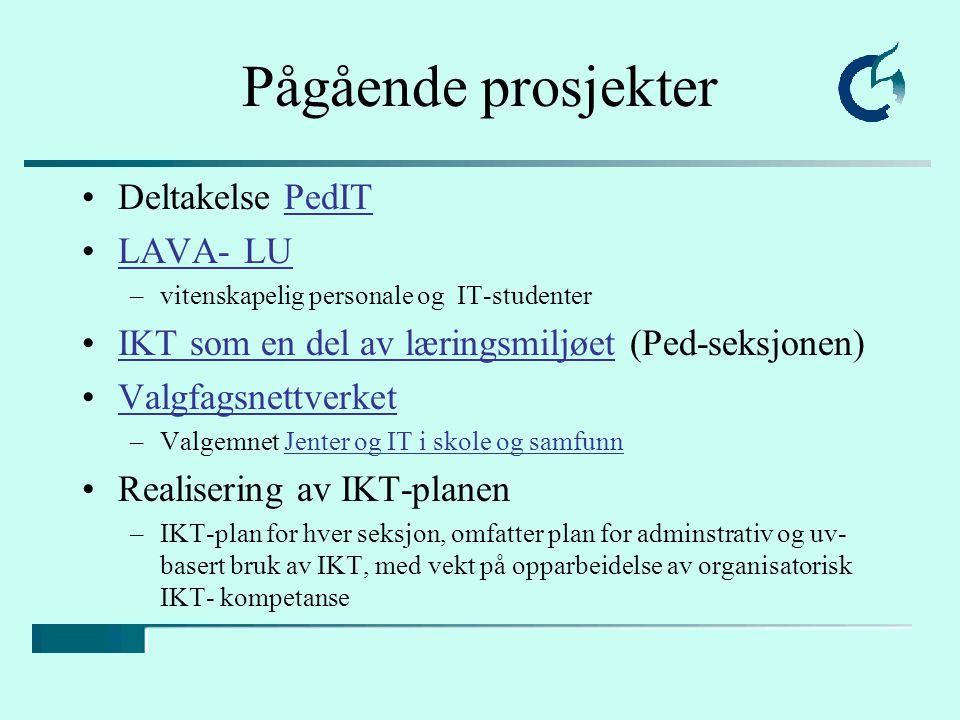 Pågående prosjekter Deltakelse PedITPedIT LAVA- LU –vitenskapelig personale og IT-studenter IKT som en del av læringsmiljøet (Ped-seksjonen)IKT som en del av læringsmiljøet Valgfagsnettverket –Valgemnet Jenter og IT i skole og samfunnJenter og IT i skole og samfunn Realisering av IKT-planen –IKT-plan for hver seksjon, omfatter plan for adminstrativ og uv- basert bruk av IKT, med vekt på opparbeidelse av organisatorisk IKT- kompetanse