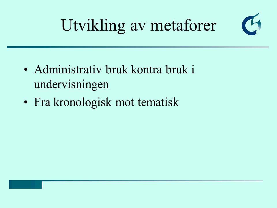 Utvikling av metaforer Administrativ bruk kontra bruk i undervisningen Fra kronologisk mot tematisk