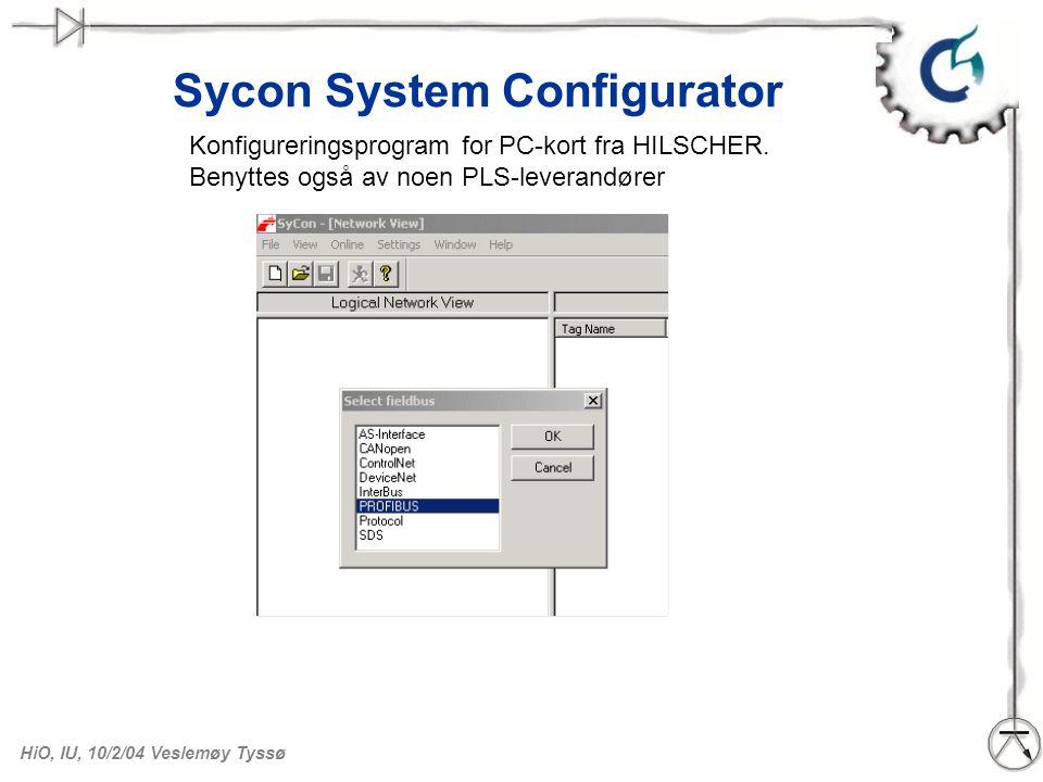 HiO, IU, 10/2/04 Veslemøy Tyssø Sycon. Sette inn DP-master Vi velger CIF60-PB
