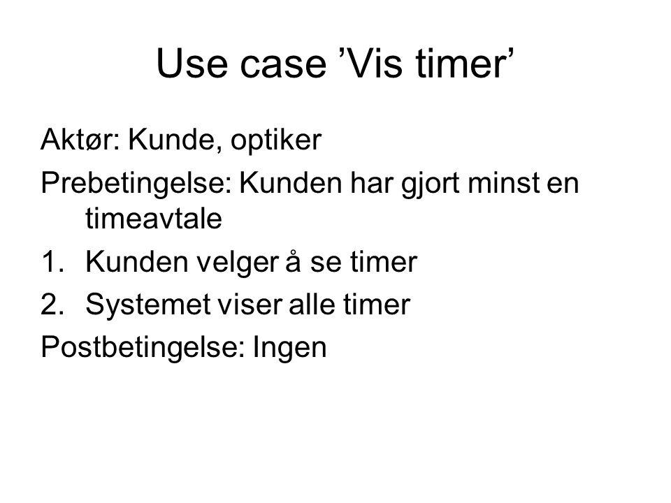 Use case 'Vis timer' Aktør: Kunde, optiker Prebetingelse: Kunden har gjort minst en timeavtale 1.Kunden velger å se timer 2.Systemet viser alle timer