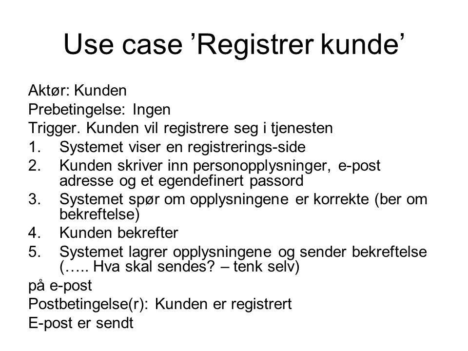 Use case 'Registrer kunde' Aktør: Kunden Prebetingelse: Ingen Trigger. Kunden vil registrere seg i tjenesten 1.Systemet viser en registrerings-side 2.