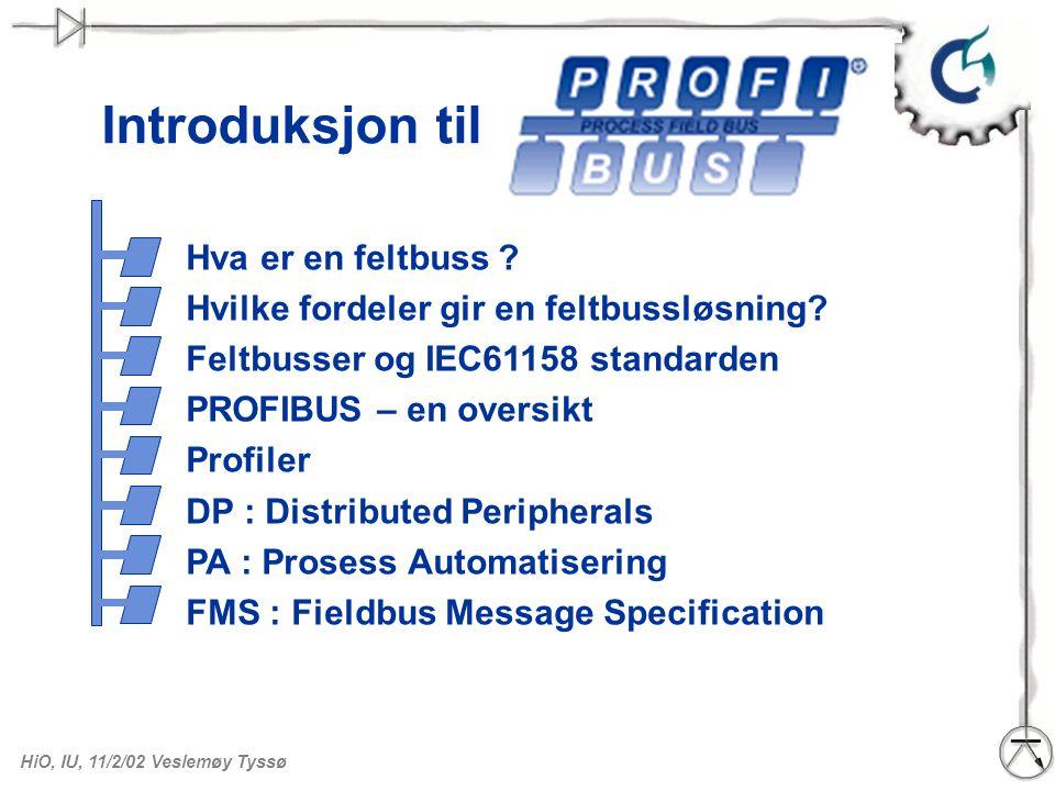 HiO, IU, 11/2/02 Veslemøy Tyssø Introduksjon til Hva er en feltbuss ? Hvilke fordeler gir en feltbussløsning? Feltbusser og IEC61158 standarden PROFIB
